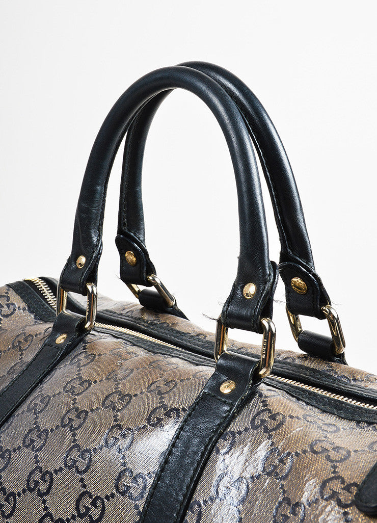 "Taupe Navy Gold Gucci Coated Canvas Leather Monogram ""Joy Boston"" Bag Detail 3"