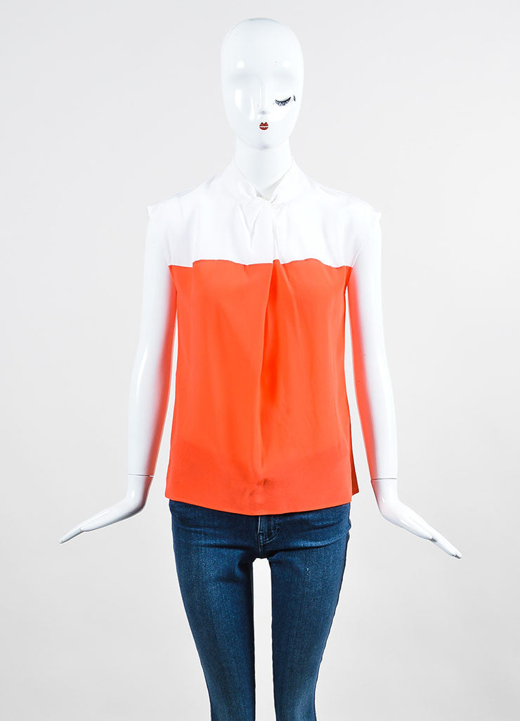 White and Neon Orange Gucci Silk Color Block Sleeveless Round Neck Blouse Frontview