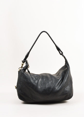 "Bottega Veneta Black Grained Leather ""Intrecciato"" Handle Small Shoulder Bag Frontview"