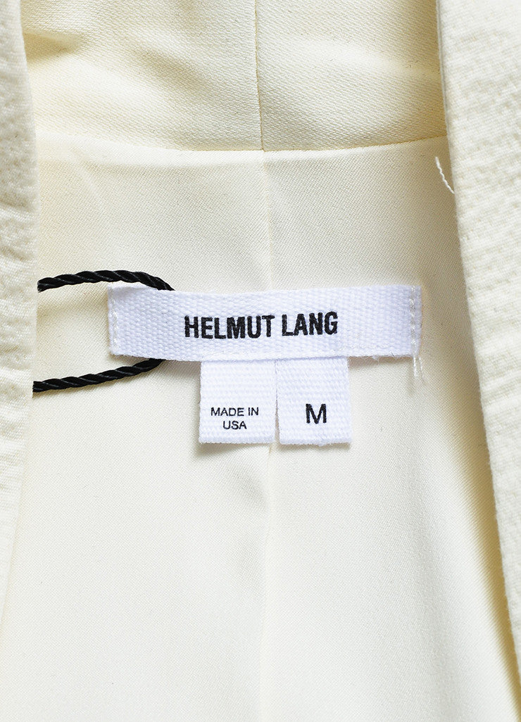 Helmut Lang Cream Crepe Textured Collarless Long Vest Brand