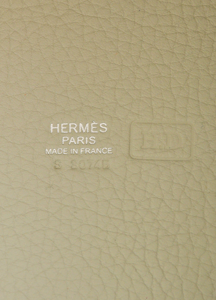"Hermes Etoupe Grey Taurillon Clemence Leather ""Picotin Lock PM"" Tote Bag Brand"