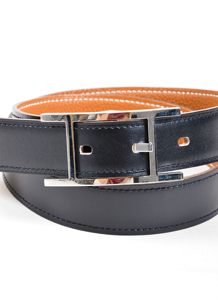 "Black and Silver Toned Leather Hermes ""Hapi"" Belt Detail"