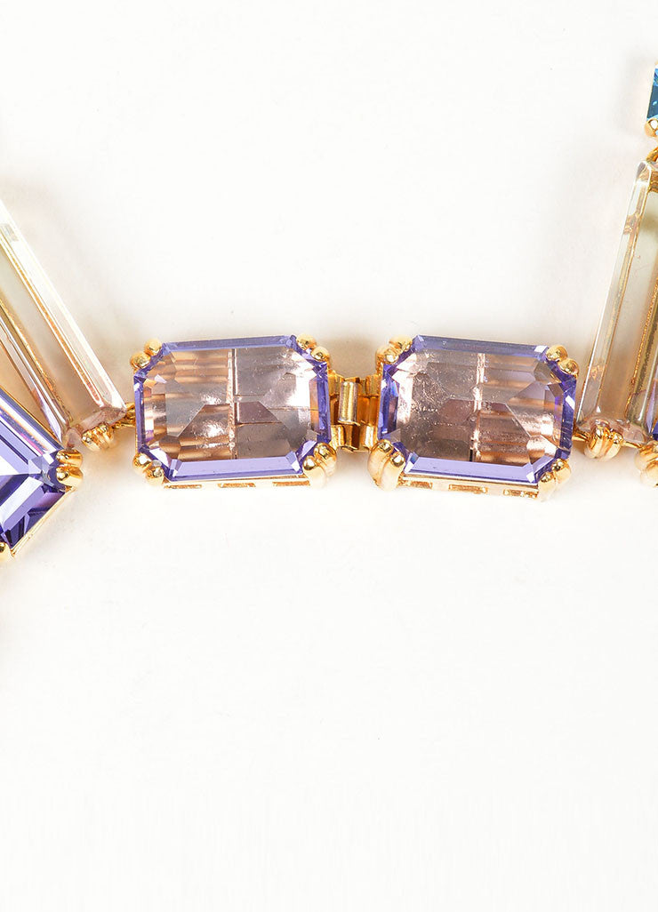 "Gold Toned, Purple, and Blue Swarovski Crystal House of Lavande ""Oceana"" Necklace Closure"
