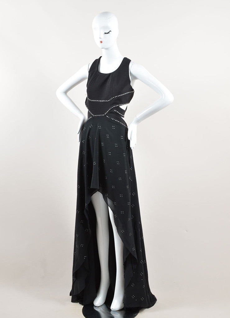 Jay Ahr Black and Silver Toned Studded Sleeveless Cut Out High Low Gown Sideview