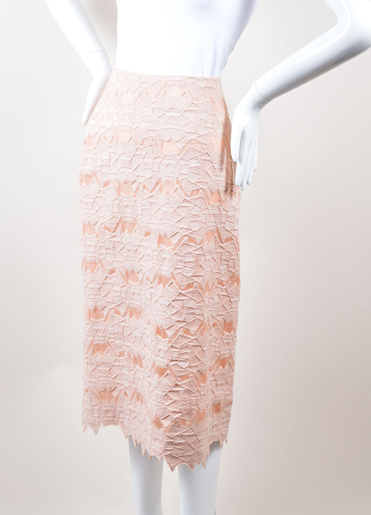 Jonathan Simkhai Pink Geometric Lace and Mesh Pencil Skirt Sideview