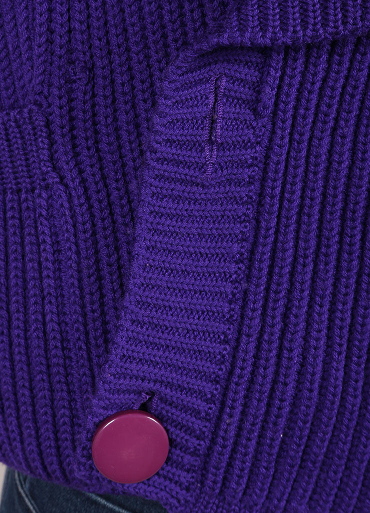 Karl Lagerfeld Purple Wool Shawl Collar Chunky Knit Cropped Sweater Detail