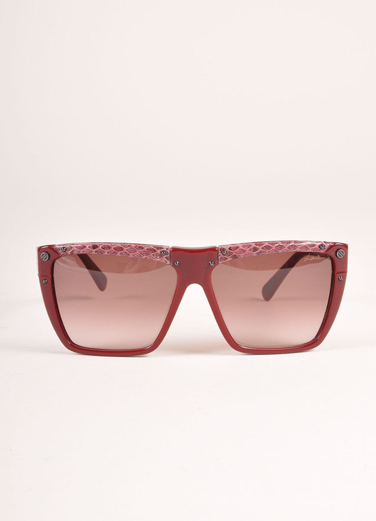 "Lanvin New With Tags Burgundy Snakeskin Plastic ""SLN 501"" Shield Sunglasses Frontview"