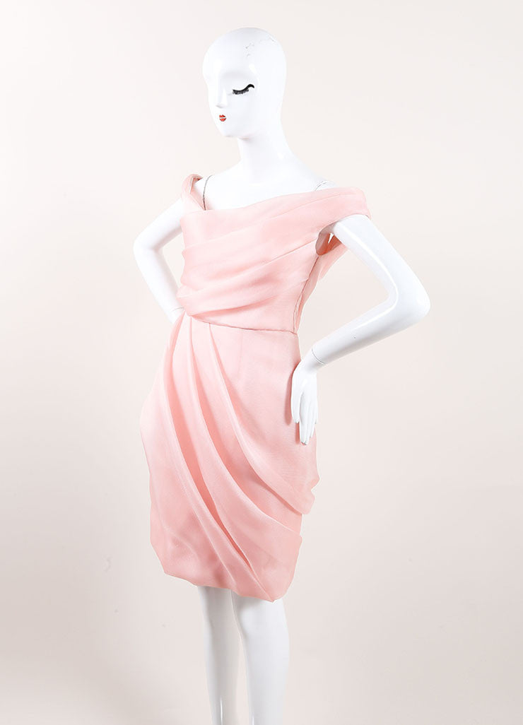 Lela Rose New With Tags Light Pink Silk Woven Pleated Off the Shoulder Dress Sideview
