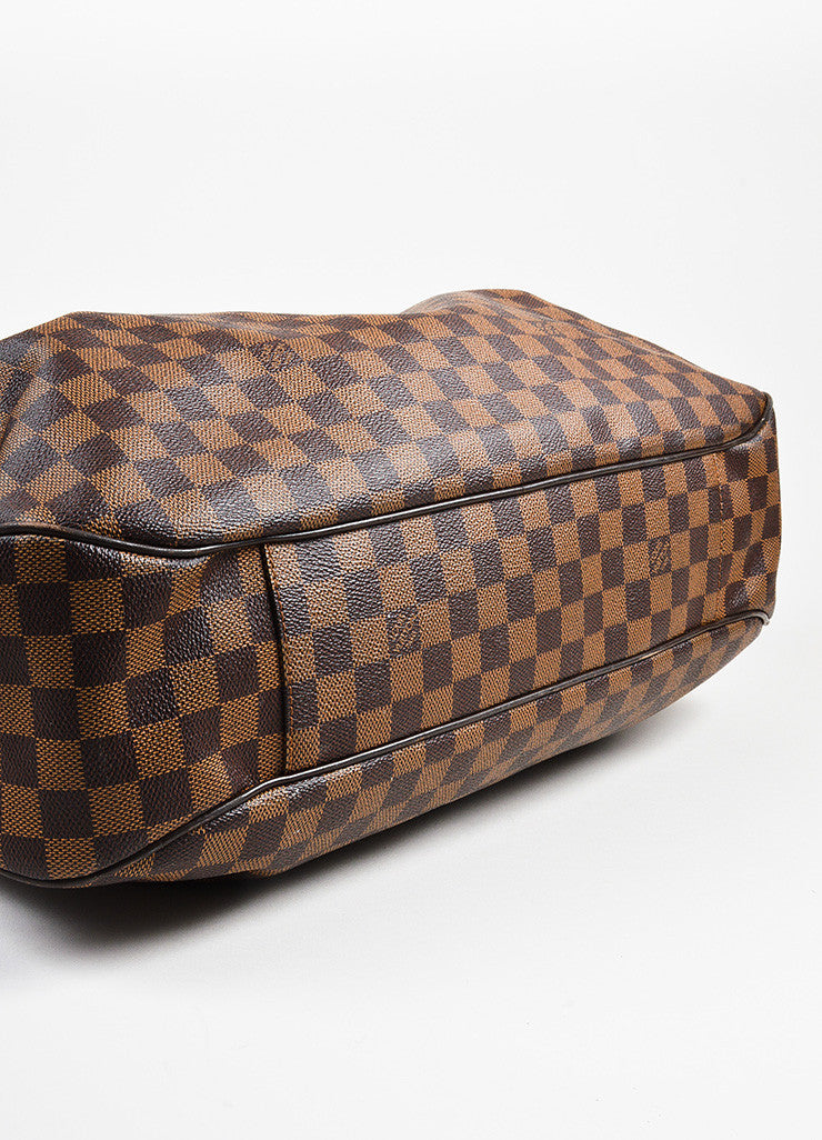 "Ebene Brown Louis Vuitton Coated Canvas Damier GM ""Evora"" Bag Detail"