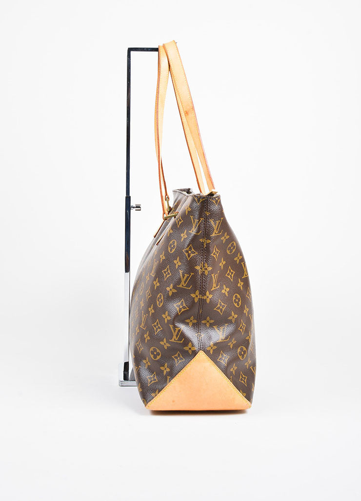 "Louis Vuitton Brown Monogram Canvas ""Cabas Mezzo"" Tote Bag Sideview"