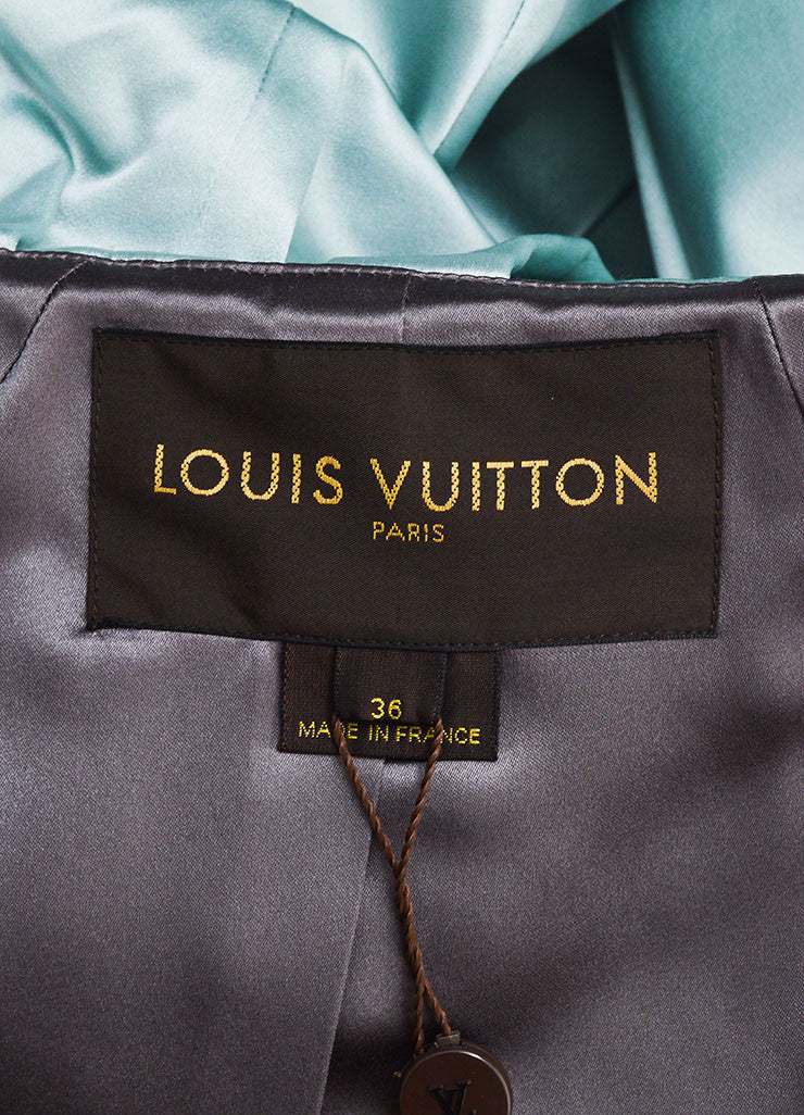 Powder Blue Louis Vuitton Silk Hooded Peplum Jacket Brand