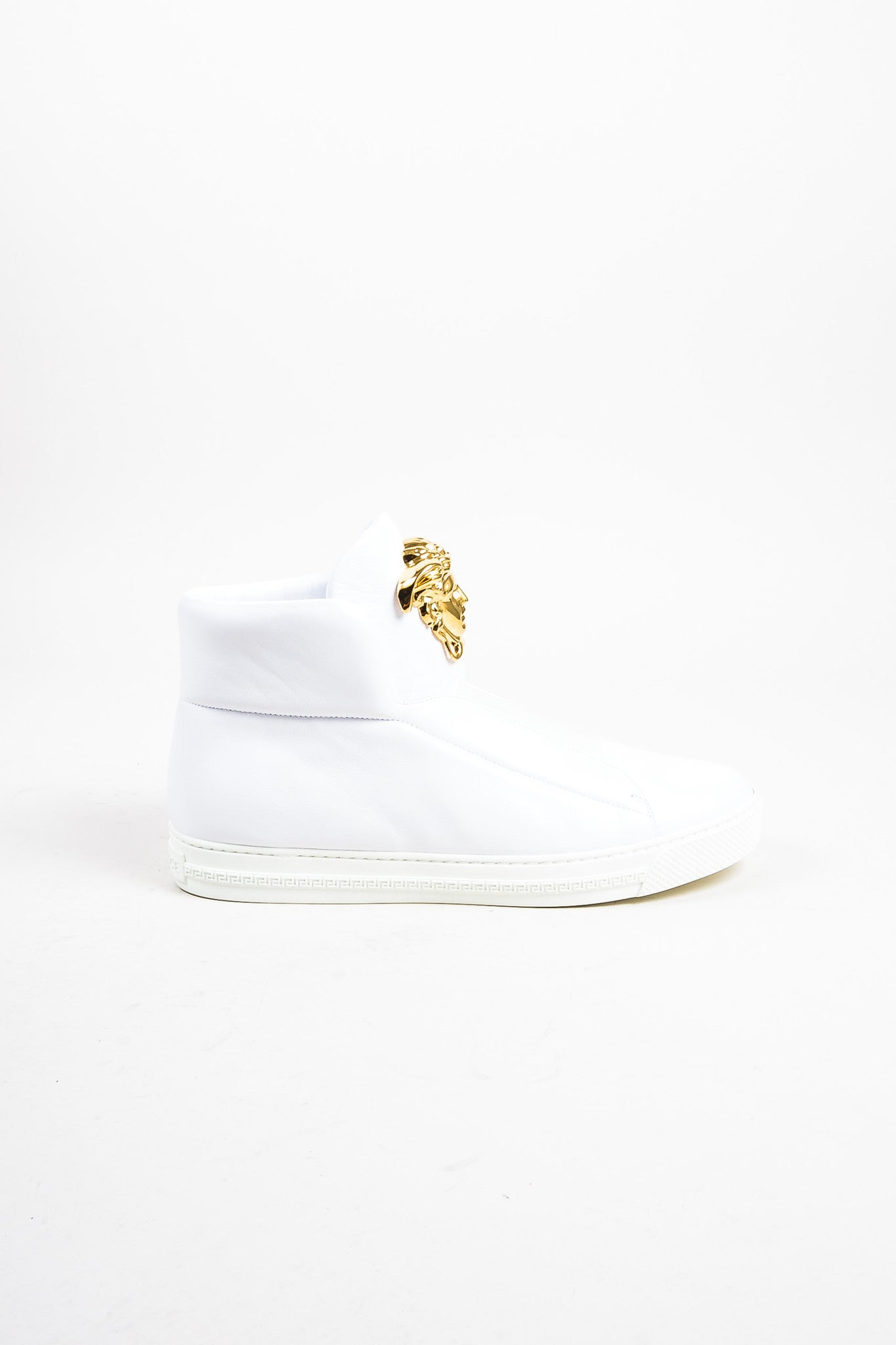 "Men's Versace White Leather Gold Toned Medusa ""Palazzo Idol"" Sneakers Sideview"