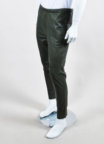 Men's Theory Olive Green Leather Drawstring Straight Leg Pants Side