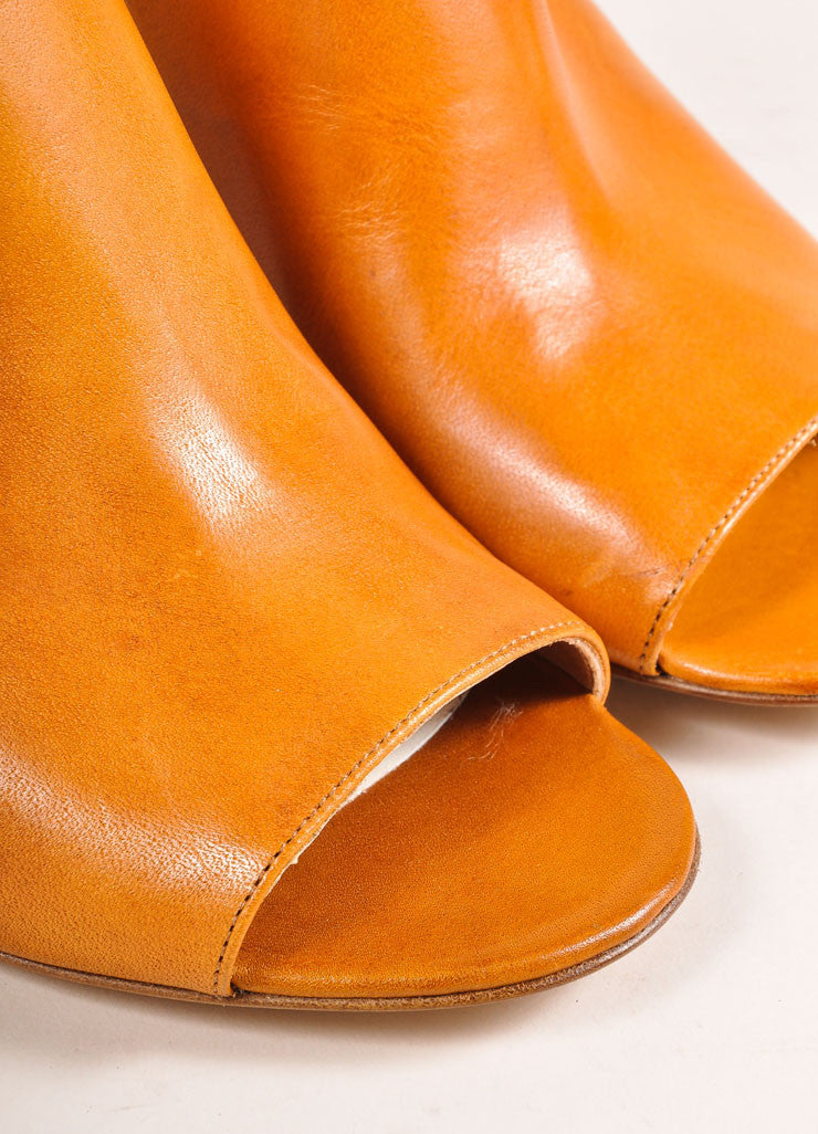 Maison Martin Margiela New In Box Cognac Leather Cut Out Booties Detail