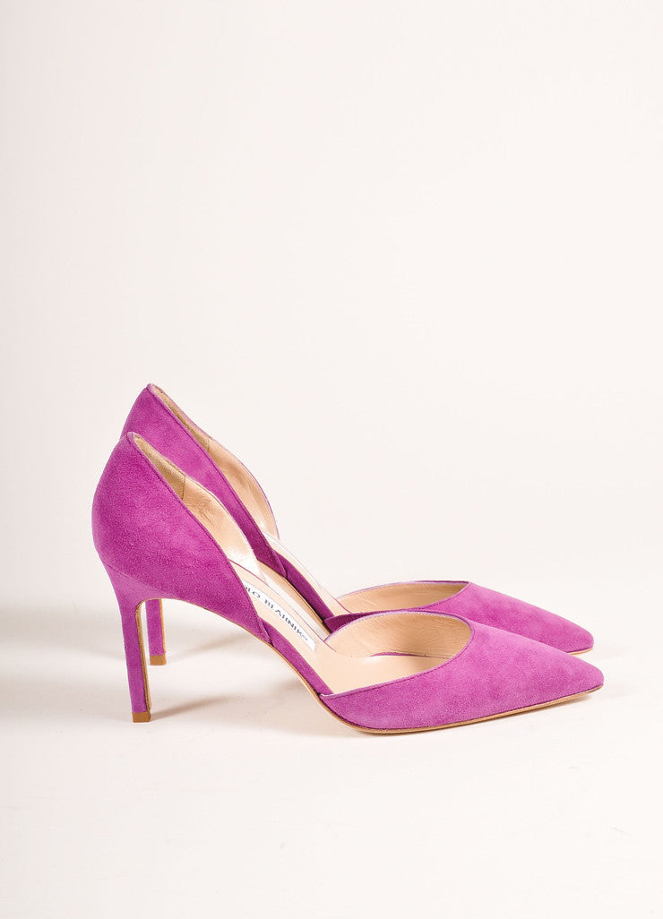 "Manolo Blahnik New In Box Purple Suede Leather Pointed Toe ""Tayler"" Pumps Sideview"