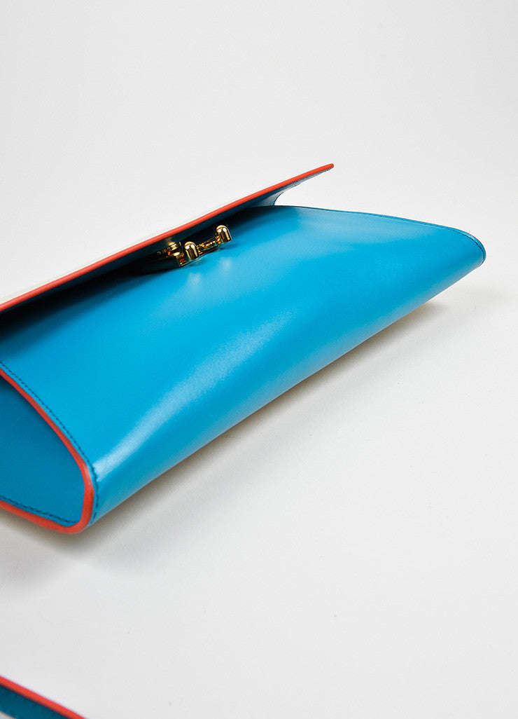 "Blue and Cream Marni Leather ""Origami"" Clutch Bag Side"