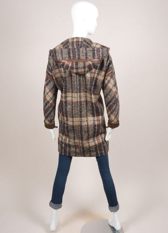 Martin Grant Tan, Navy, and Brown Wool Blend Leather Trimmed Plaid Coat Backview