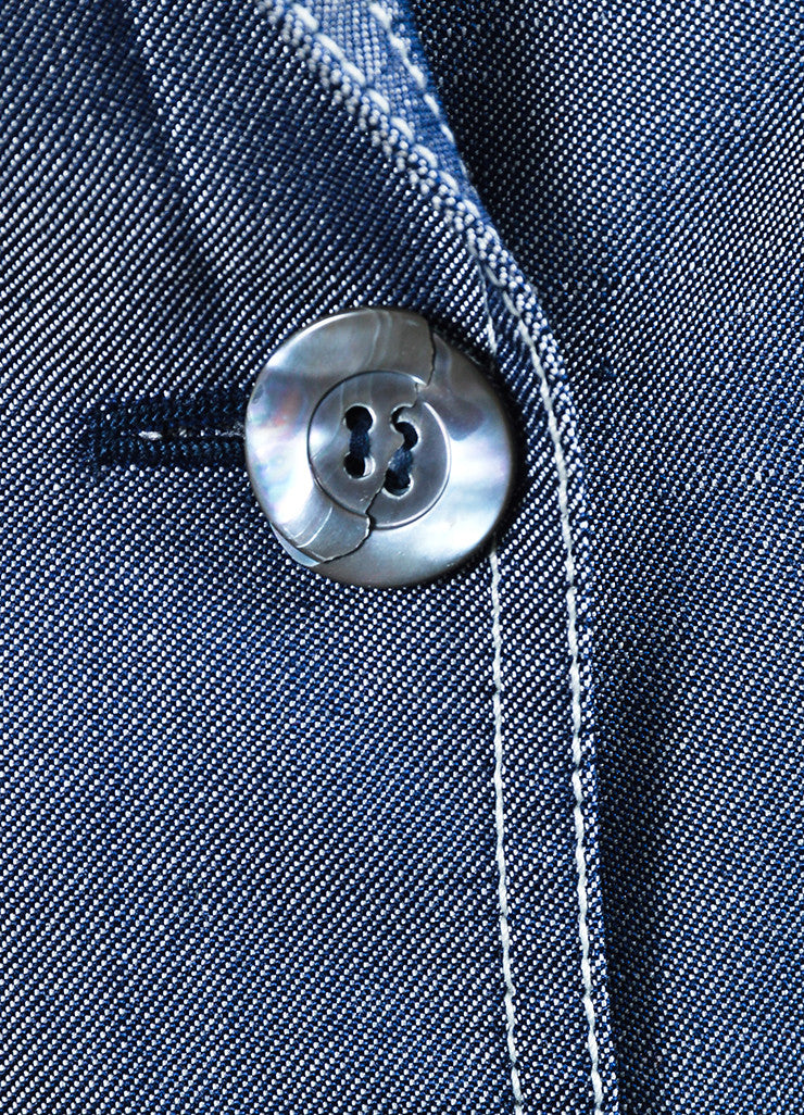 Michael Kors Navy Blue and White Silk Twill Denim Button Up Jacket Detail 2