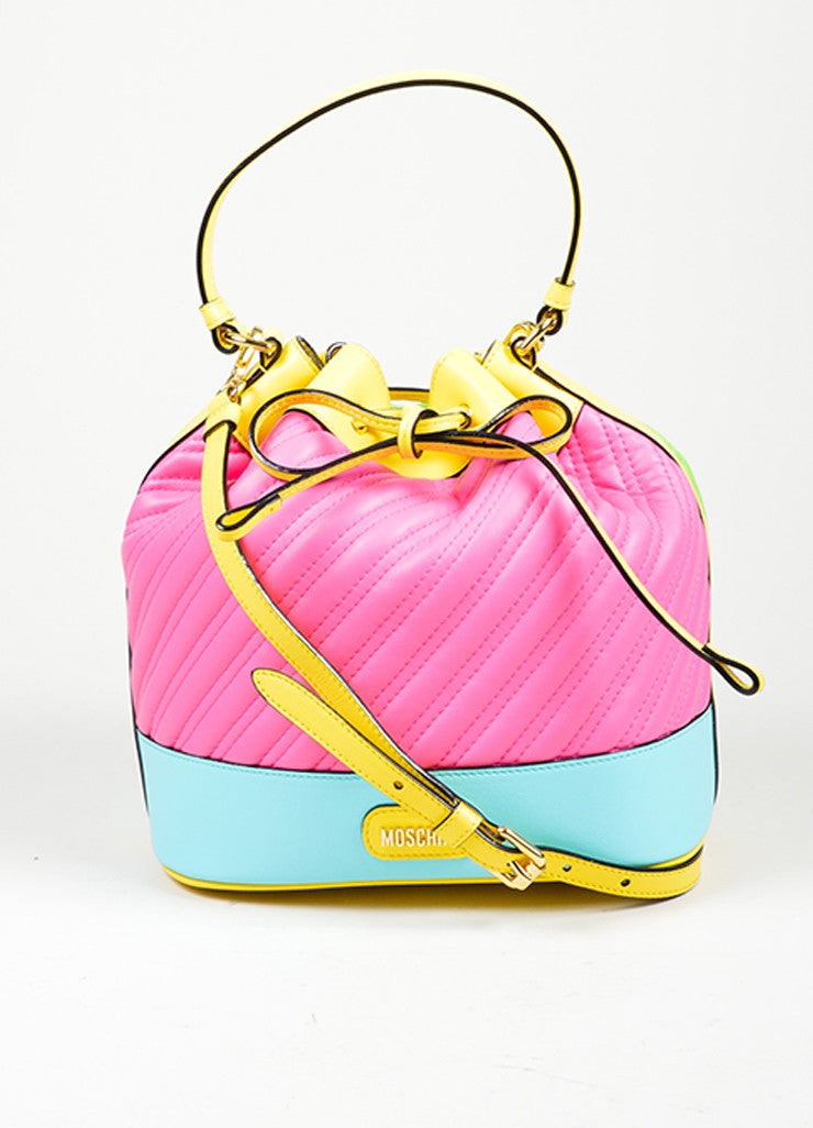 Multicolor Moschino Couture Cross Body Bucket Bag Frontview
