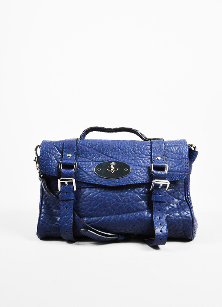 "Indigo Blue Pebbled Leather Mulberry ""Alexa"" Satchel Bag Frontview"