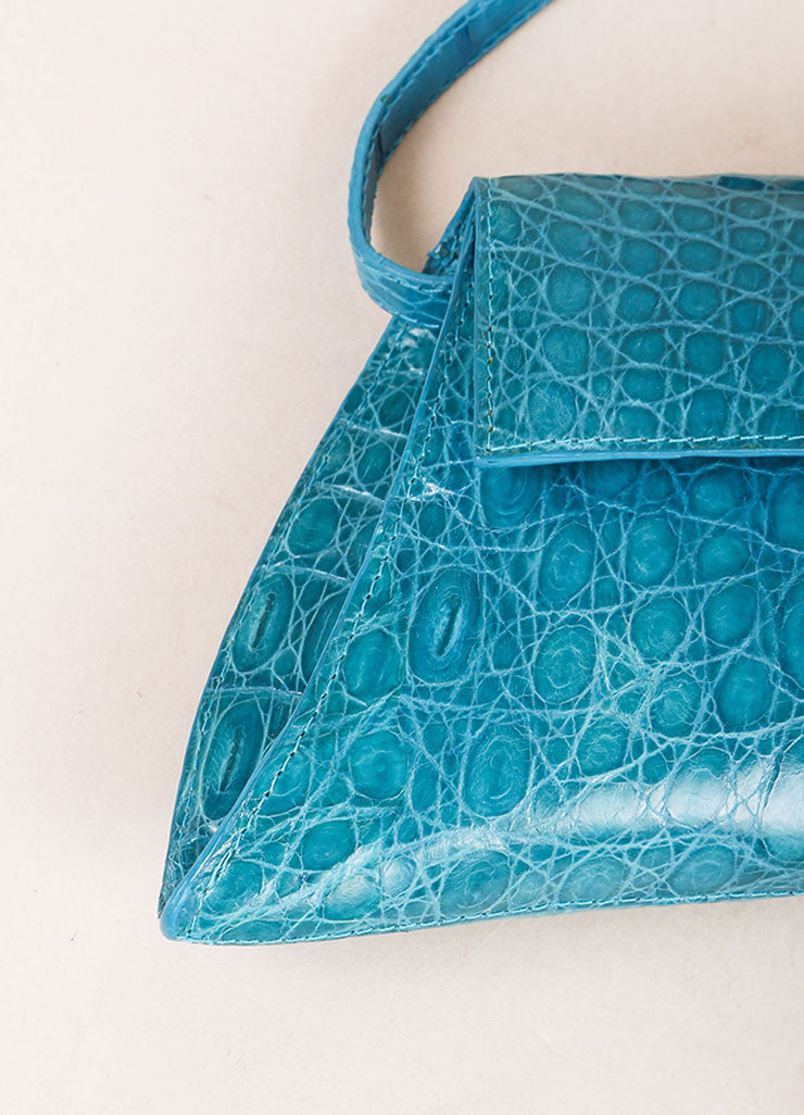 Nancy Gonzalez Teal Crocodile Trapezoid Clutch Bag Detail