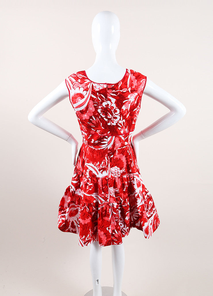 Oscar de la Renta New With Tags Red and White Floral Print Pleated Flare Dress Backview