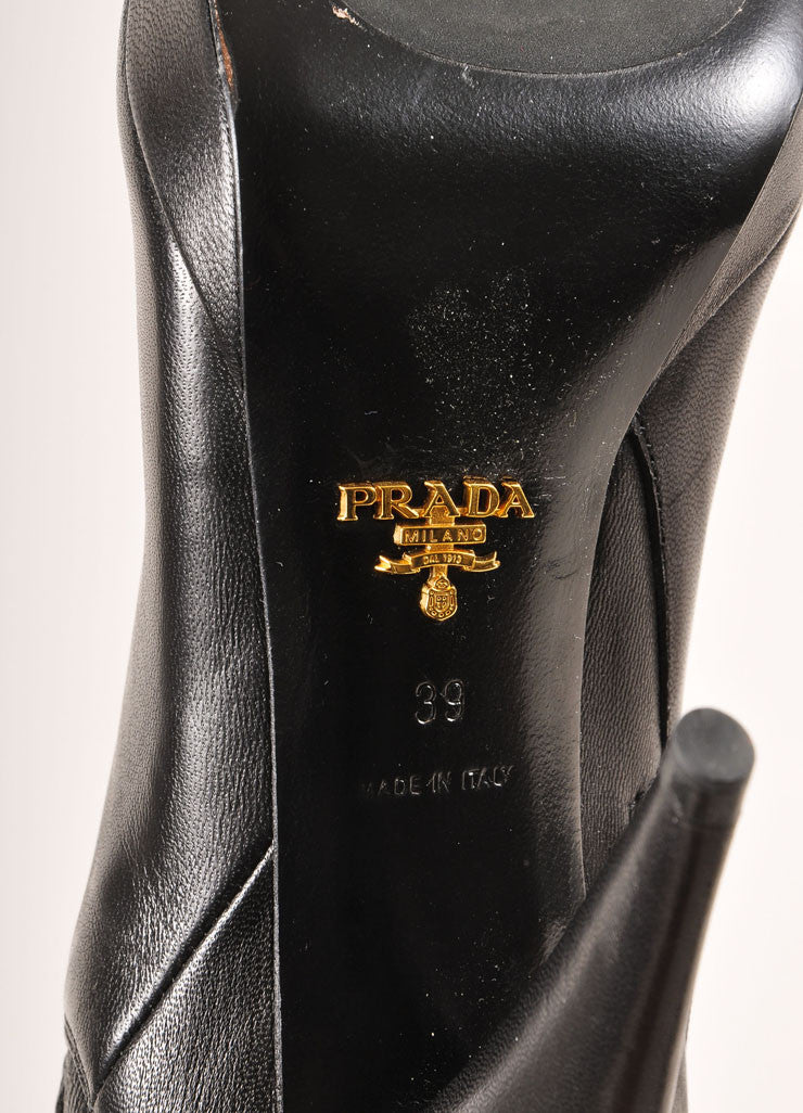 Prada Black Ruched Panel Knee High Pointed Toe Heeled Leather Boots Brand