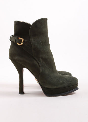 Prada Army Green Suede Buckle Platform Ankle Boots Sideview