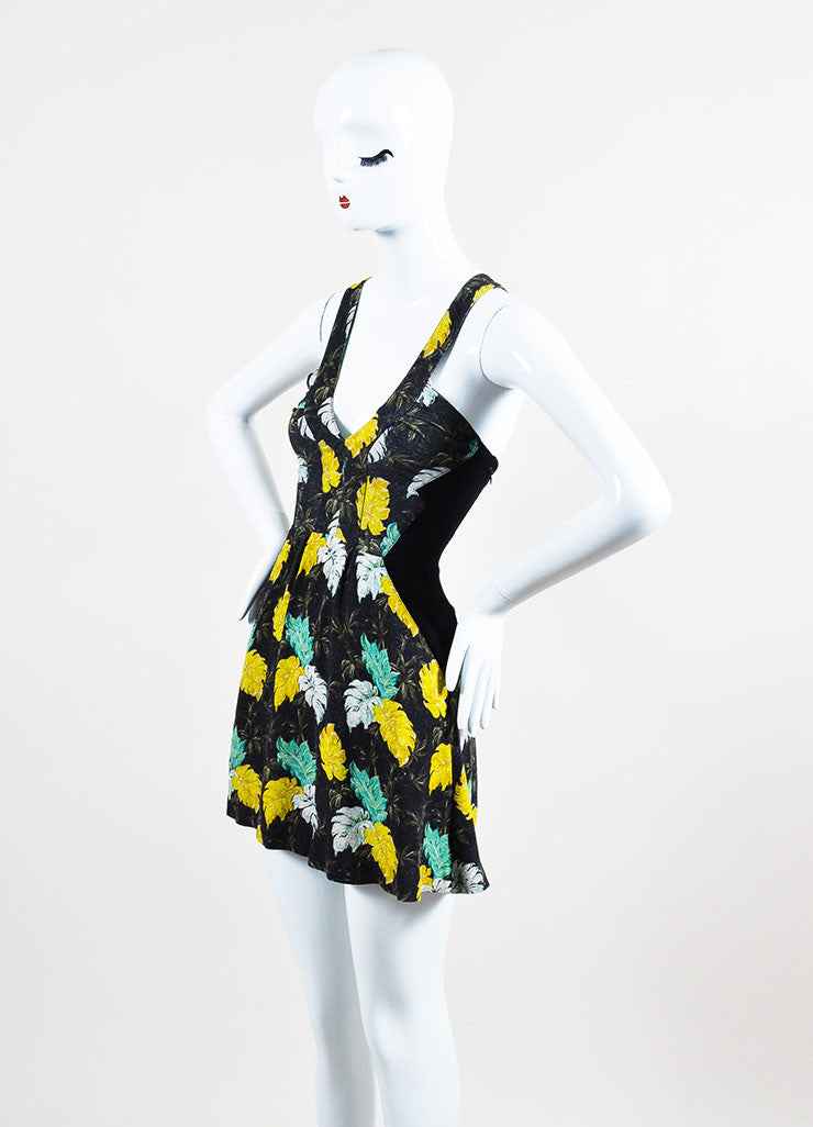 Black, Green, and Yellow Proenza Schouler Floral Print Sleeveless Mini Dress Sideview