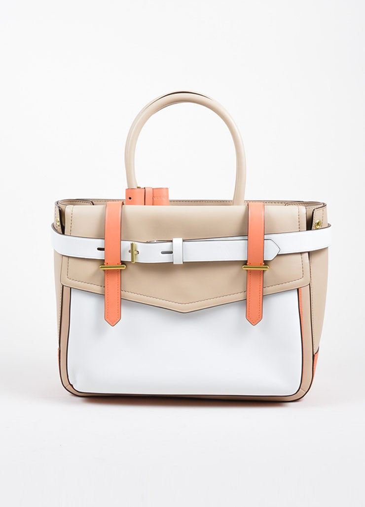 "Reed Krakoff White, Beige, and Coral Leather Colorblock ""Boxer"" Tote Bag Frontview"