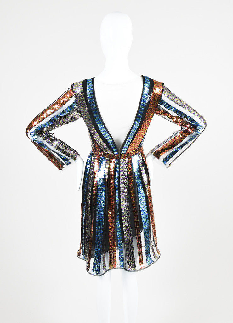 Multicolor Rodarte Sequin Striped Long Sleeve Dress Backview