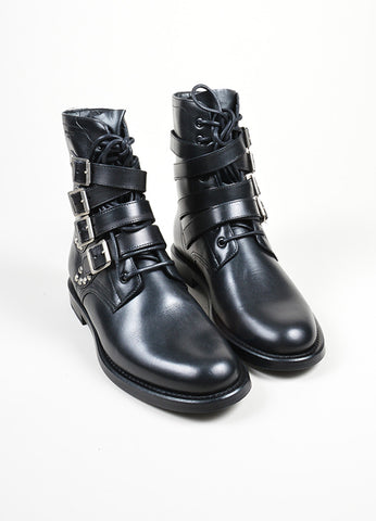 "Black and Silver Studded Buckle Saint Laurent ""Ranger"" Ankle Boots Frontview"