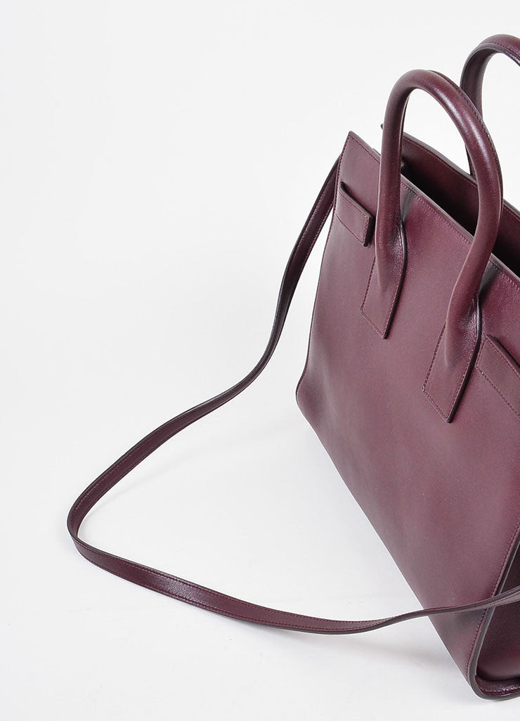 "Burgundy Saint Laurent Leather ""Small Sac De Jour"" Tote Bag Detail 3"