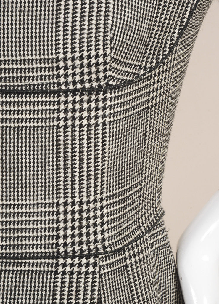 Stella McCartney Black and White Wool Houndstooth Sheath Dress Detail
