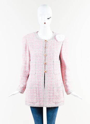 Chanel Pink and White Tweed Camellia Pinned Jacket Frontview 2