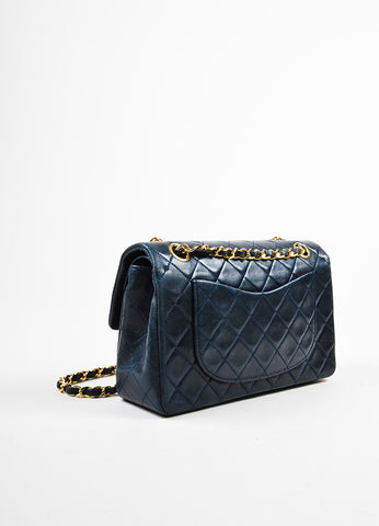 "Chanel Navy Blue Gold Toned Chain Strap ""Small Classic Double Flap"" Bag Backview"