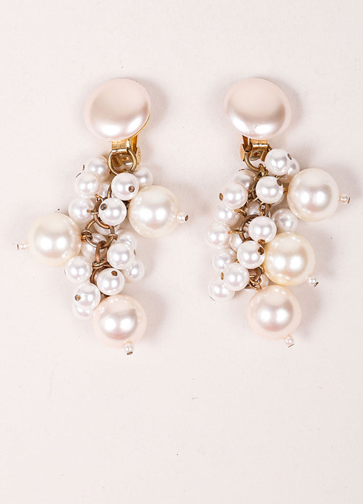 Vintage Cream and Gold Toned Dangling Faux Pearl Cluster Drop Earrings Frontview