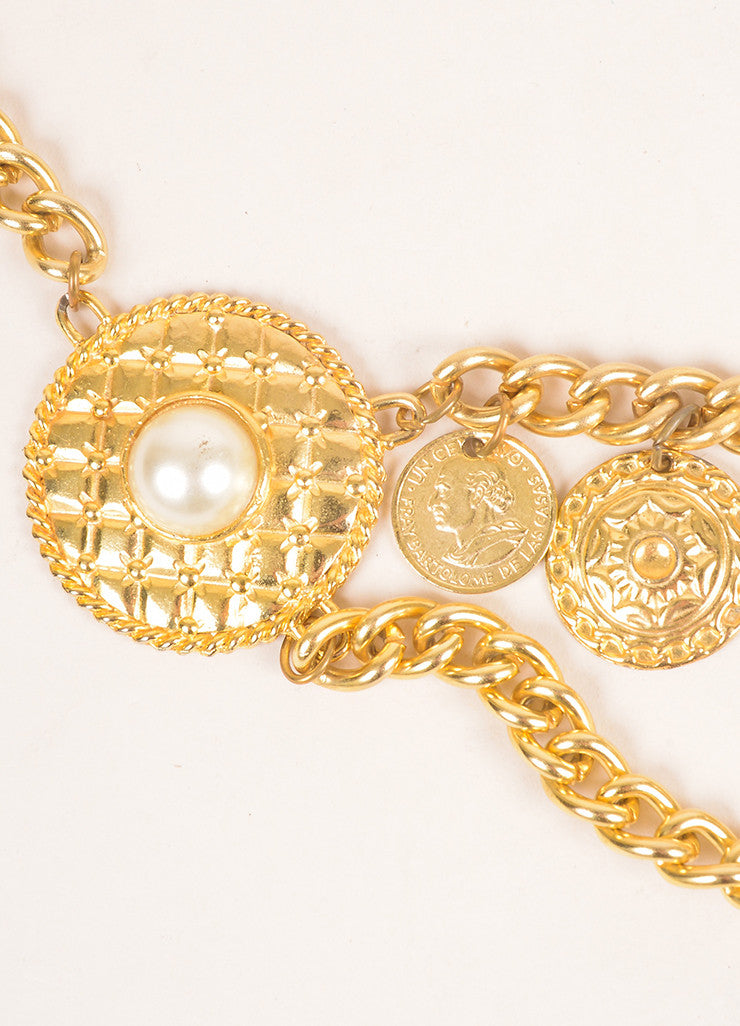 Vintage Gold Toned and Faux Pearl Rhinestone Coin Charm Embellished Chain Belt Detail