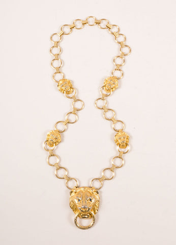 Hill Gold Toned Lion Head Door Knocker Chain Necklace Frontview