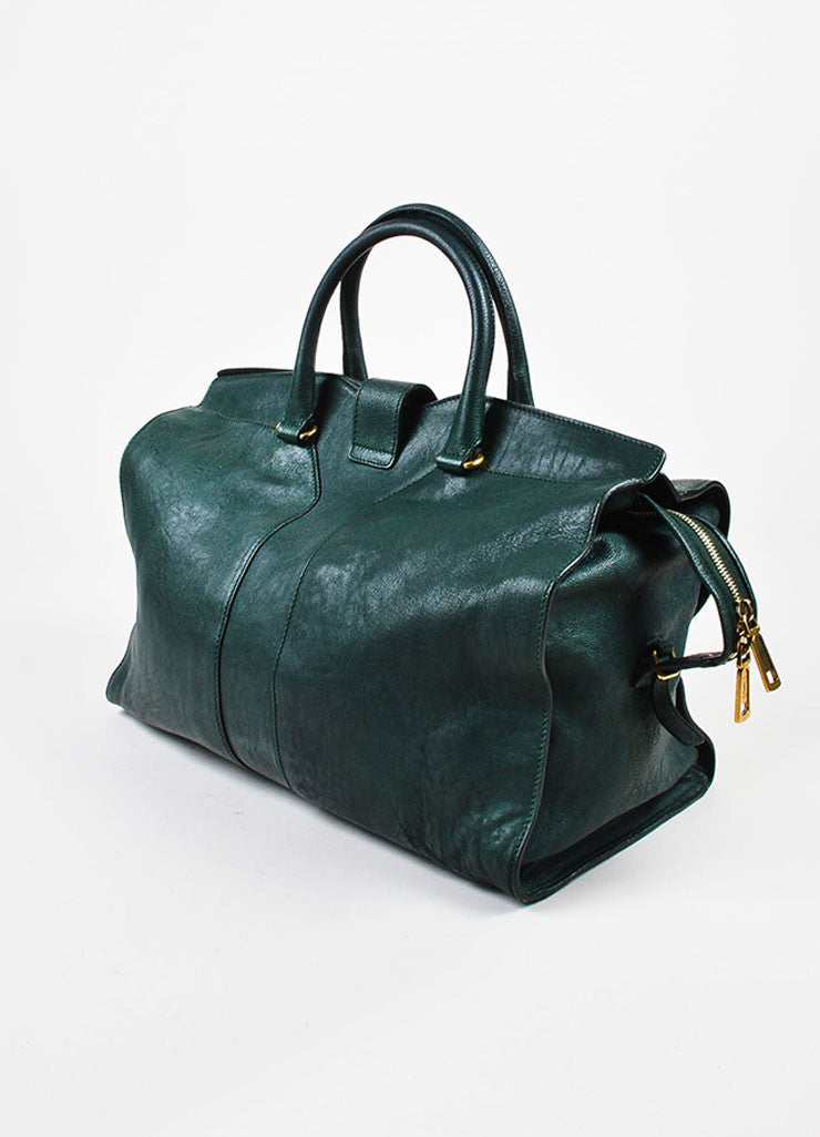"Yves Saint Laurent Dark Green Gold Hardware ""Medium Cabas Chyc"" Bag Sideview"
