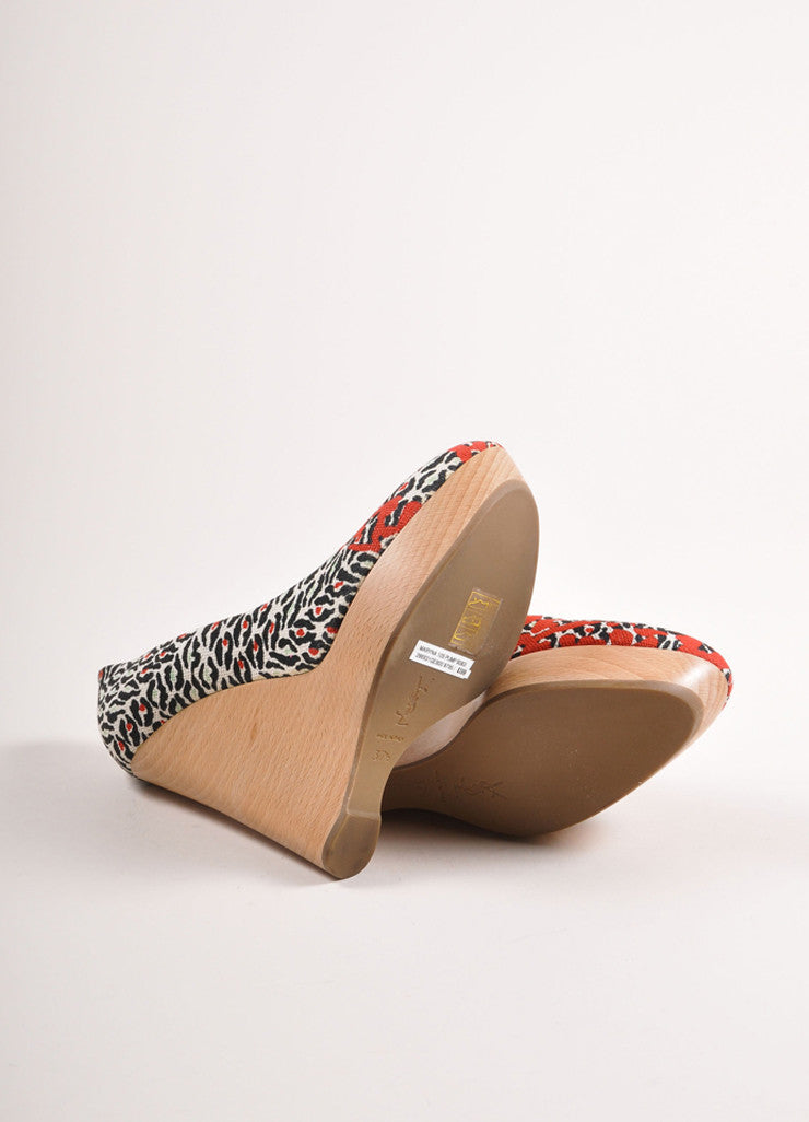 "Yves Saint Laurent Black and Red Printed Canvas ""Maryna"" Wedges Outsoles"