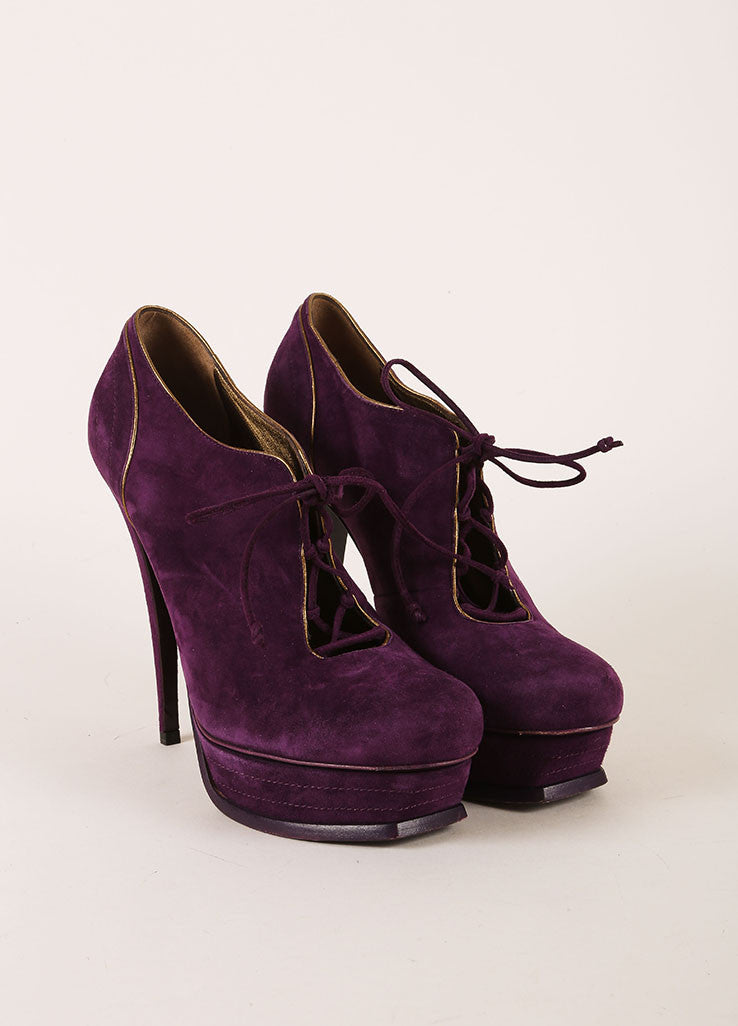Yves Saint Laurent Purple Suede Leather Lace Up Platform Ankle Booties Frontview