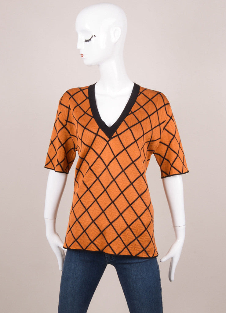 New With Tags Orange and Black Diamond Pattern Short Sleeve Silk and Cotton Knit Sweater