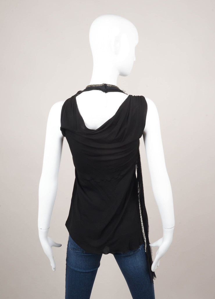 Chloe Black and Silver Halter Top With Embellishments