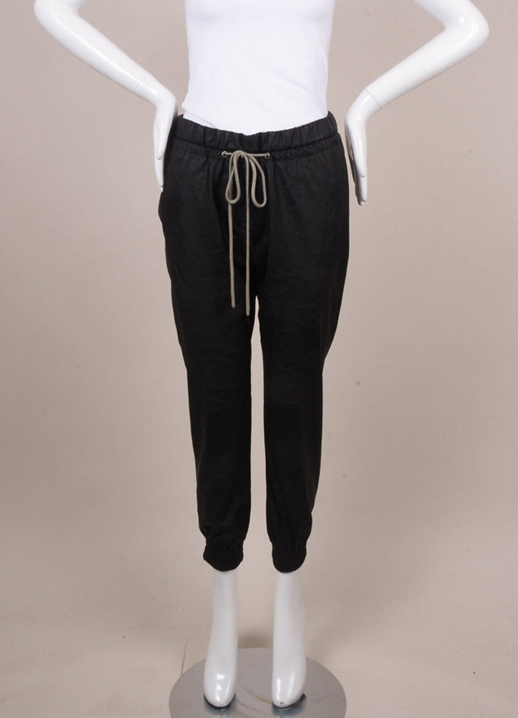 Black Faux Leather Drawstring Pocketed Track Pants