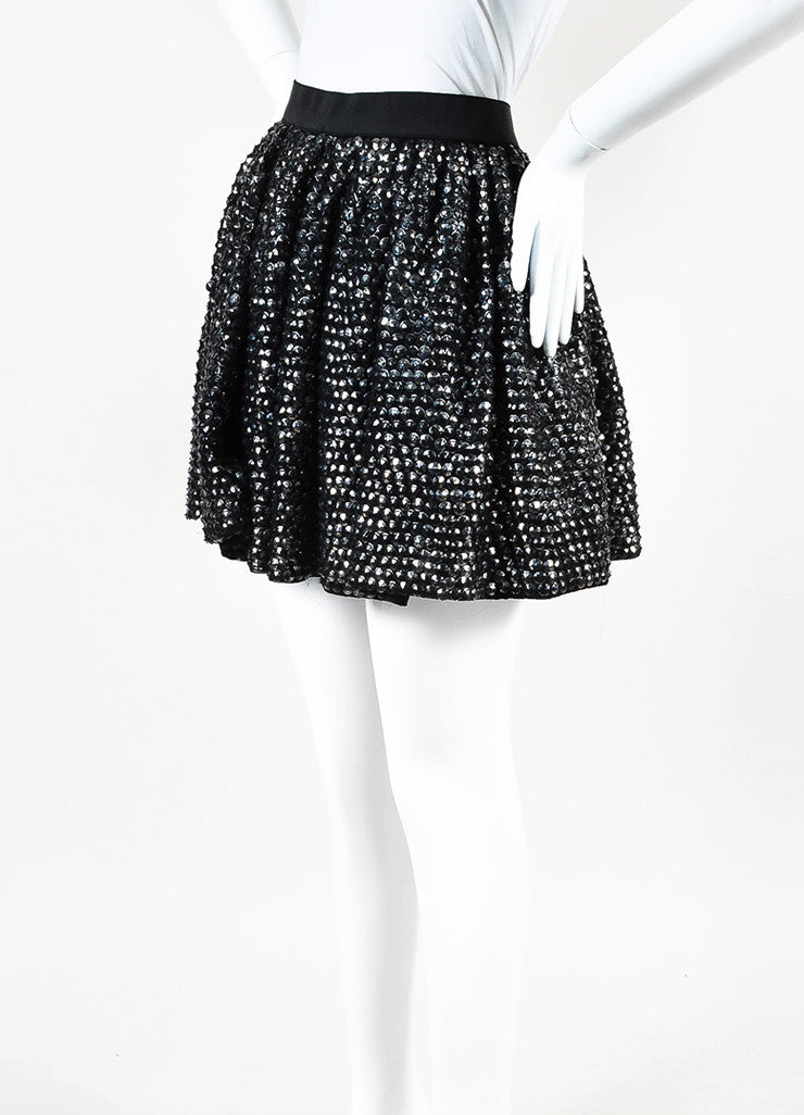 3.1 Phillip Lim Black Silver Distressed Sequin Elastic Waist Flare Skirt  Sideview