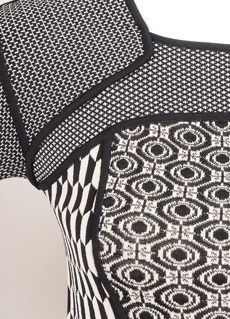 A.L.C. New With Tags Black and White Stretch Knit Multi Pattern Bodycon Dress Detail