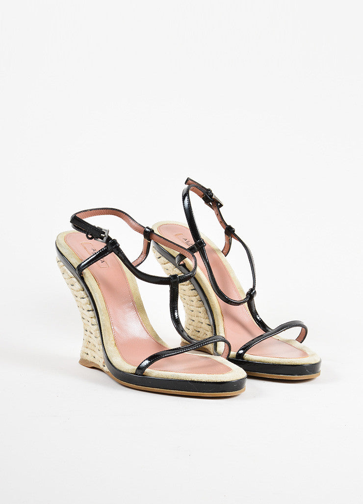 Alaia Black Patent Leather Espadrille Wedge T-Strap Sandals Frontview