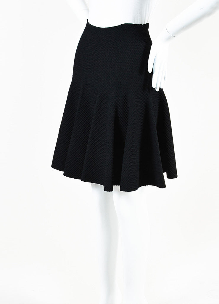 Alaia Black Knit Matelasse Flared Skirt Sideview
