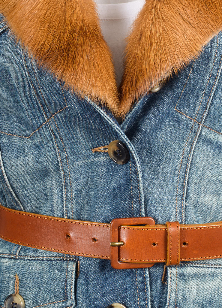Alexander McQueen Blue and Tan Denim Removable Fur Collar Belted Jacket Detail